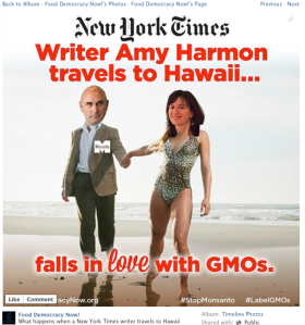 Screenshot of Food Democracy Now! meme of Harmon and Hugh Grant of Monsanto