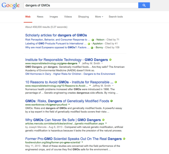 Screenshot of a search on the dangers of GMOs.  A lot of scary stuff comes up with those keywords.